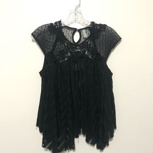 Free People Lace Embroidered Top Black XS